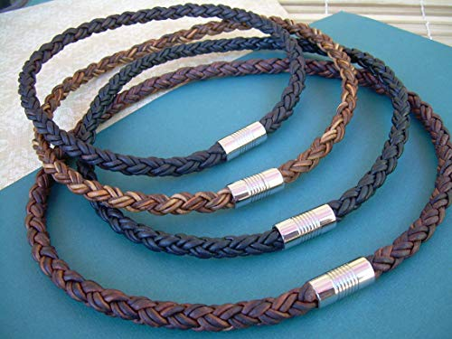 Handmade Thick Braided Leather Necklace for Men, Stainless Steel Magnetic Clasp,Mens Necklace,Mens Jewelry, Groomsmen