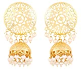 Touchstone Indian Bollywood innovative finely embossed architectural style bridal chandelier jewelry jhumki earrings hung with bunches of faux pearls for women in gold tone