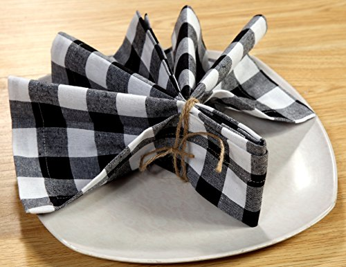 Linen Clubs Pack Of 12 Black -white 100% Cotton Yarn Dyed Gingham Check Dinner Napkins 18x18Inch,Clambake Beach party Nautical Dinner Napkins as well offered by by Linen Clubs (Image #4)