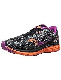 Saucony Womens Kinvara 6 Runshield Road Running Shoe, Black/Orange/Purple, 7.5 M US