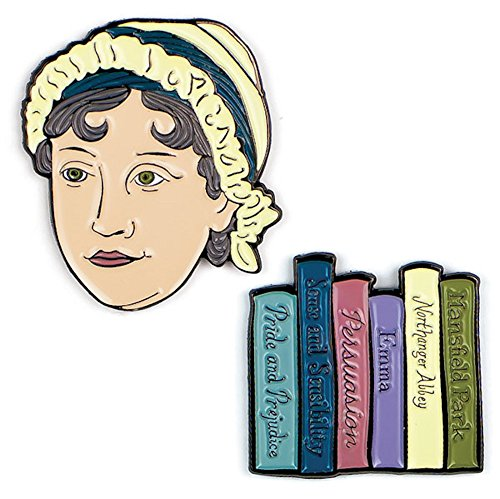 The Unemployed Philosophers Guild Jane Austen and Books Enamel Pin Set - 2 Unique Colored Metal Lapel Pins
