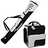 "HENRY BRUBAKER ""Superfunction"" Combo Ski Boot Bag and Ski Bag for 1 Pair of Ski up to 170 cm, Poles, Boots and Helmet - Black Silver"