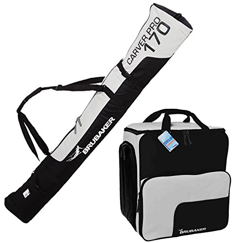 HENRY BRUBAKER ''Superfunction'' Combo Ski Boot Bag and Ski Bag for 1 Pair of Ski up to 170 cm, Poles, Boots and Helmet - Black Silver by BRUBAKER