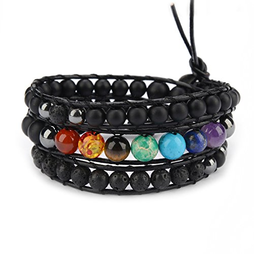 M & B Expressions M&B 3 Lap 7 CHAKRA Diffuser Bracelet 6-8mm with Natural Stone Beads for Meditation, Healing and Zen - Gift Idea]()