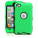 iPod Touch 4th Case, MagicMobile® Premium Heavy Duty Hybrid Shockproof Armor Cover Green Silicone Layer and Black Hard Plastic Shell