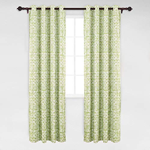 Green Curtains Plaid (Deconovo Abstract Rectangular Print Window Curtain Panel Rod Pocket Thermal Blackout Window Curtains for Dining Room 52W x 95L Green 1 Pair)