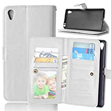 Xperia Z5+ Z5Premium Case,Gift_Source [White] Wallet Premium PU Leather Folio Book Style Multiple Card(9) Slots Cash Pocket with Magnetic Snap Flip Case Cover for Sony Xperia Z5 Premium / Z5 Plus 5.5""