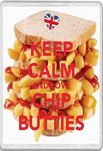 Jumbo Fridge Magnet Keep Calm and Love Chip Butties
