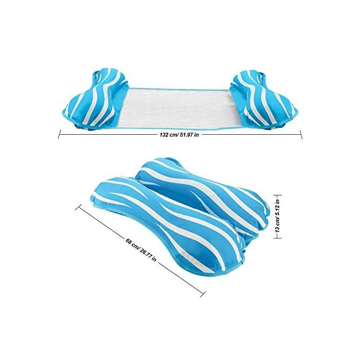 """51K K1szWZL 【FÁCIL DE ALMACENAR Y LLEVAR】 La hamaca de agua es plegable y compacta, puede inflar y desinflar la hamaca de agua de manera rápida y sencilla. Simplemente enróllelo para guardarlo fácilmente o tírelo cuando sea necesario. Puede llevarlo a un viaje. 【ÚNICO 4-en-1 Y GRAN CAPACIDAD DE CARGA】 Sistema inflable flotante 4-en-1 con dimensiones 52 """"x 26.8"""" (132cm x 68cm) Se convierte en hamaca, sillón, Drifter y sillín de ejercicios. Simultáneamente no tiene necesidad de preocuparse por el límite de peso, manejará hasta 250 libras aunque sea liviano. 【COMODO Y SIN DAÑOS】 Esta hamaca inflable tiene un diseño ergonómico y está cubierta con tela laminada de PVC, brinda mucho apoyo y abundancia de confort. No tienen olor y no son tóxicos, son seguros y no dañan su salud. Puede disfrutar del tiempo de padres e hijos con sus hijos en la piscina, se recomienda que los niños vayan acompañados de adultos."""