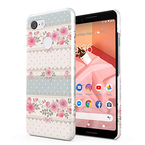 (Flowers Vintage Lined Pink Rose Pattern Google Pixel 3 Plastic Phone Protective Case Cover)
