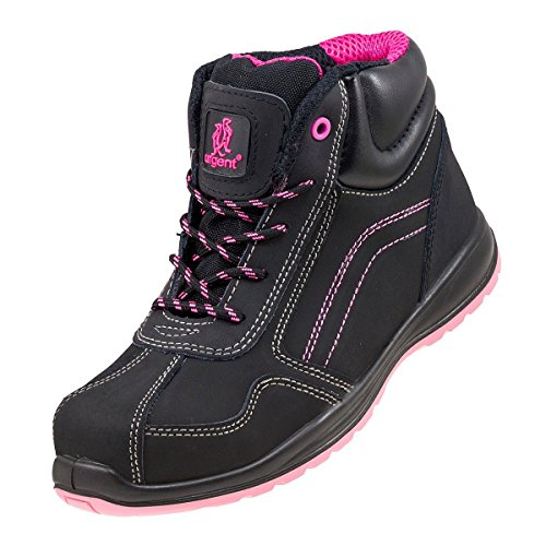 Lightweight Ladies Women Safety Boots Black Pink Hiker Ankle Size Small...