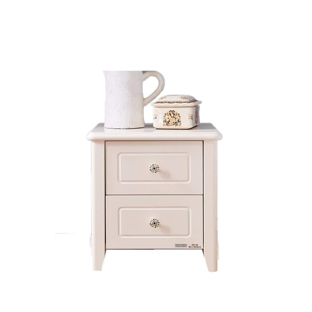 Chengzuoqing Nachttisch Holz Nachttisch mit 2 Schubladen Beistelltisch for Wohnzimmer Stable Rahmen for Haupt Schlafzimmer Zubehör Moderne Möbeldekoration (Farbe : Weiß, Größe : 45.2X45X49.6CM)