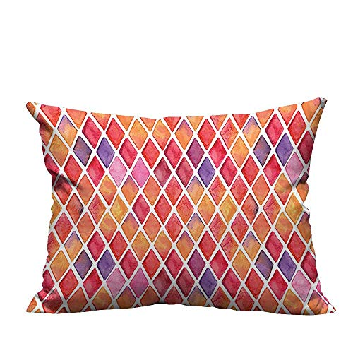 YouXianHome Sofa Waist Cushion Cover Shaped Mosaic Crossed Geometric Forms in Watercolor Picture Orange Red Pink Purple Decorative for Kids Adults(Double-Sided Printing) 19.5x54 inch