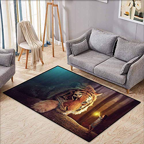 Children's Rug Jungle Young Woman with Lamp Facing Giant Tiger on Big Tree Branch Fantastic Magical Orange Blue Brown Non-Slip Backing W6'5 - Floor Lamp Hawk