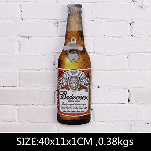 Wooden Beer Shaped Wall Bottle Opener Wall Mounted Bottle Openers, Wall Plaques Cap Catcher Vintage Style For Home Bar Restaurant House Decoration (BudWeiser)