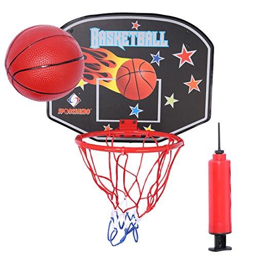 RAVPump Kids Basketball Hoop Over-The-Door Basketball Hamper Wall-mounted Backboard Teenagers Mini Basketball Shooting Hoop Set with 1 Basketball, 1 Pump, 2 Mounts and 4 Screw for Home or Office