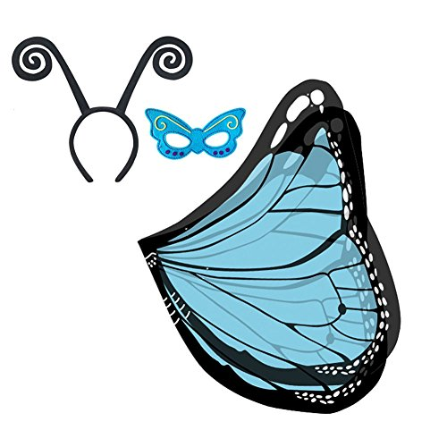 HADM 3Pcs Kids Butterfly Wings Cape Halloween Party Costume Dress-ups with -