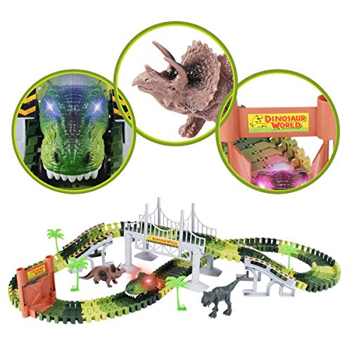 Lydaz Race Track Dinosaur World Bridge Create A Road 142 Piece Toy Car & Flexible Track Playset Toy Cars, 2 Dinosaurs