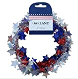 Fourth of July Decorations Star Tinsel Garland 25 Feet Red, White, Blue (1, Glittered Multi)