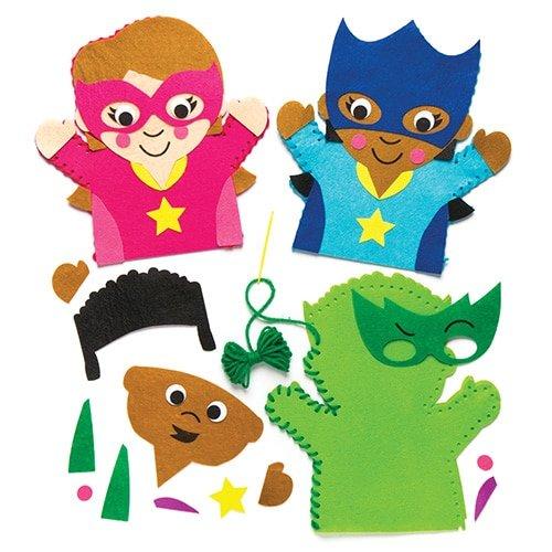 Baker Ross Star Hero Hand Puppet Sewing Kits (Pack of 4) Kids to Make - Hand Puppet Kits