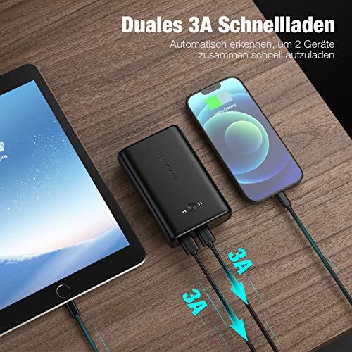 POWERADD Powerbank 15000 Lightning EnergyCell Power Bank mit 2 USB-Ausgängen(5V/3A) und Lightning Eingang(5V/2.4A) Externer Akku für Handy iPhone Samsung Huawei iPad Tablet und Mehr