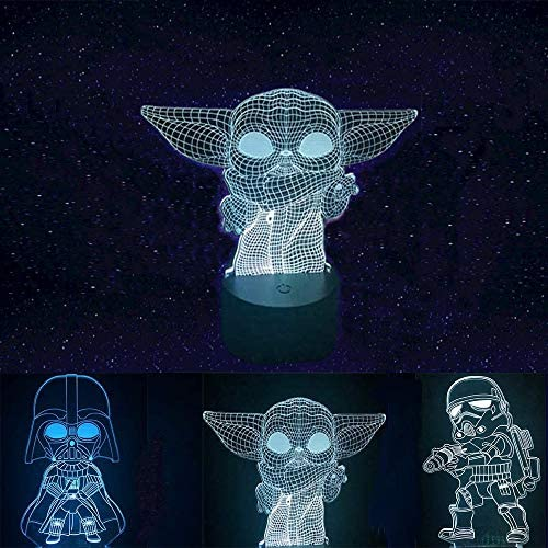 K8 3D Illusion Star Wars Night Light, Kids' Room Decor Lamps, Gifts for Star Wars Fans, Baby Yoda & Darth Vader & The Mandalorian Toys [3 Patterns 16 Color Change]