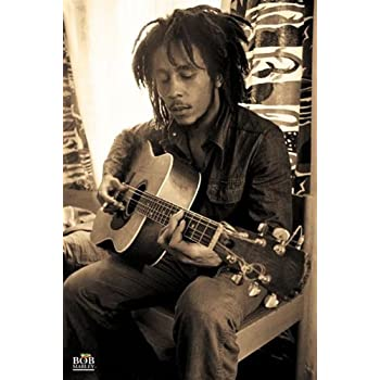 Bob Marley-Playing Guitar in Sepia, Music Poster Print, 24 by 36-Inch