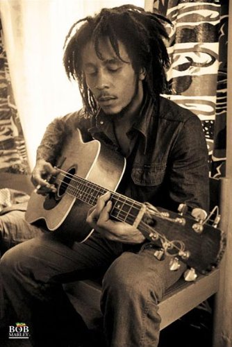 Amazon.com: Bob Marley-Playing Guitar in Sepia, Music Poster Print ...
