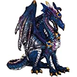 "Custom & Unique {4.5"" Inch} 1 Single, Home & Garden ""Standing"" Figurine Decoration Made of Grade A Resin w/ Fantasy Mythical Cerulean Winged Dragon Style {Black, Blue, Purple, & White}"