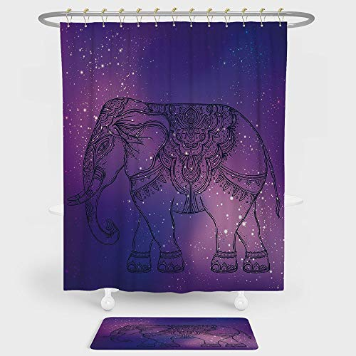 Elephant Mandala Shower Curtain And Floor Mat Combination Set Sketchy Hand Drawn Holy Guardian Animal Print in Outer Space Image For decoration and daily use Purple and Pink by iPrint