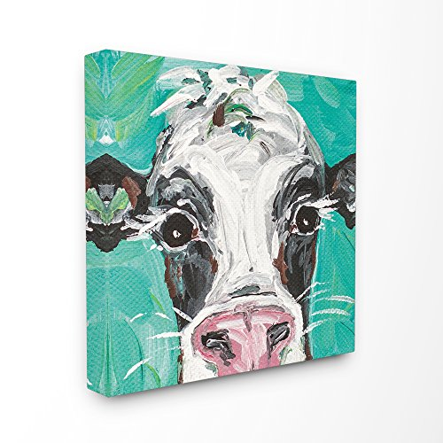 The Stupell Home Decor Collection Stupell Industries Oreo The Painted Cow Stretched Canvas Wall Art, 17 x 1.5 x 17, Proudly Made in USA by The Stupell Home Decor Collection