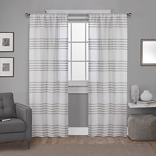 Drapes Stripes Silk Drapery (Exclusive Home Curtains Monet Pleated Sheer Rod Pocket Window Curtain Panel Pair, Taupe, 54x84)