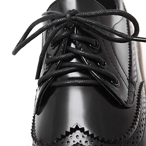 AgooLar Damen Lackleder Quadratisch Zehe Niedriger Absatz Schnüren Rein Pumps Schuhe Schwarz