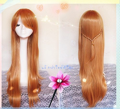 100cm Long Sword Art Online SAO YuuKi Asuna Light Ash Brown Cosplay Wigs, Long Costume Wigs for Party UF068 ()