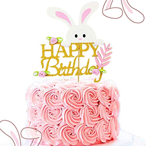 (JeVenis Glittery Pink Happy Easter Cake Topper Bunny Happy Birthday Cake Topper Bunny Cake Topper for Girl Birthday Decorations Baby)