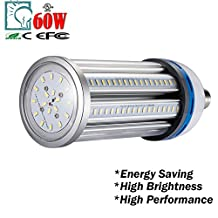LED Corn Bulb,Gianor 60W E26/E27 LED Street Light Replace HID/HPS/Metal Halide Bulb,6000K Day White for Street Lamp Post Lighting Garage/Factory/Warehouse/High Bay/Porch/Backyard(Transparent Cover)