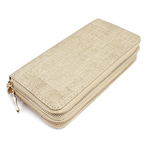 (MYS Collection Classic Zip Around Wallet - Textured Faux Leather Double Zipper Clutch Purse with Card & Phone Slots)