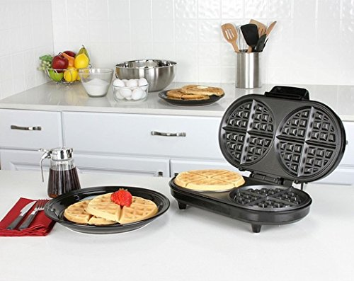 Stainless Steel Double Belgian Waffle Maker, Non-Stick Surface, Ready Indicator Light, Variable Temperature Control, Dimensions 13.75x9.25x4.125, Black