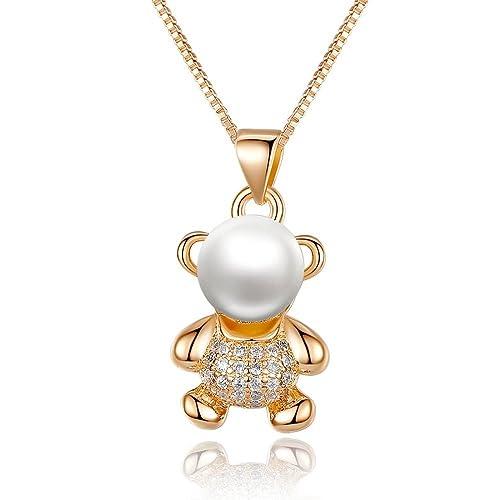 Animal Bear Necklace & Pendant Cadenas Collar Laminado De Mujer en Oro Joyeria Fina Collares Para