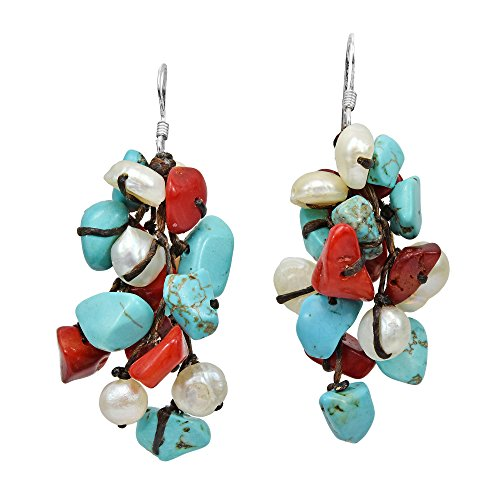 Cluster Simulated Turquoise & Reconstructed Coral & Cultured Freshwater White Pearl .925 Sterling Silver Dangle Earrings