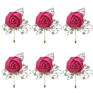 ZJCilected 6Pieces/lot Handmade Men's Lapel Satin Flower Pearl Decor Boutonniere Pin for Suit Wedding Groom Groomsmen Brooch Rose Boutonniere 13