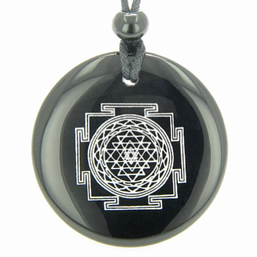 Sri Yantra Chakra Talisman Black Agate Magic Pendant Necklace (Talisman Agate)