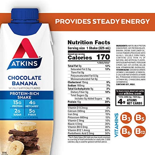 Atkins Chocolate Banana Protein-Rich Shake. With B Vitamins and High-Quality Protein. Made with Real Fruit. Keto-Friendly and Gluten Free, 11 Fl Oz (Pack of 12) 6