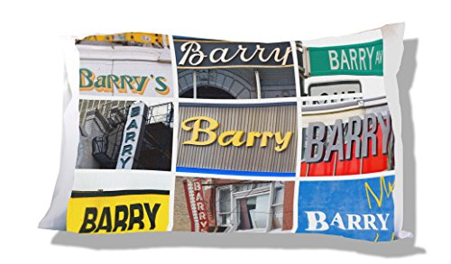 Personalized Pillowcase featuring the name BARRY in photos of signs Barry Pillowcase