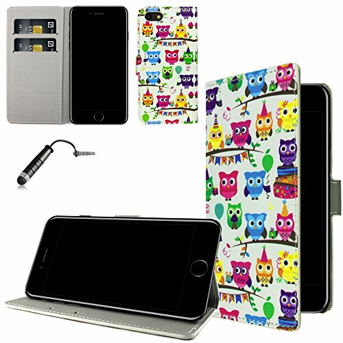 Ownstyle4you - Apple iPhone 7 Etui Wallet Coque Housse PREMIUM Portefeuille Eco Cuir Side OWL PARTY / Protection Pare-Chocs Goutte Absorption des Chocs + Protecteur d'écran + Pen