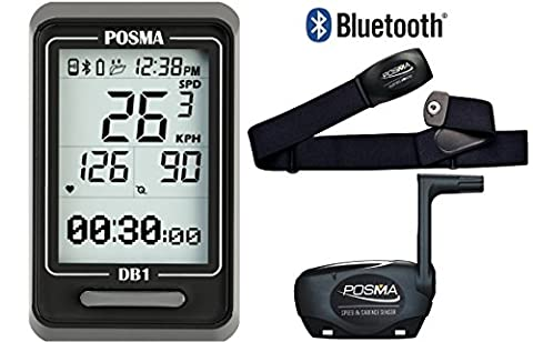 POSMA DB1 BLE4.0 Cycling Computer Bundle with BHR20 Heart Rate Monitor and BCB20 Speed/Cadence Sensor