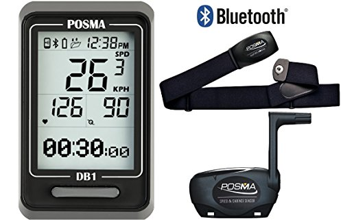POSMA DB1 BLE4.0 Cycling Computer Bundle with BHR20 Heart Rate Monitor and BCB20 Speed/Cadence Sensor Single Track Cycling Gloves
