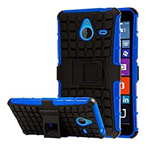 Microsoft Lumia 640 XL Case, MPERO IMPACT SR Series Dual Layered Tough Durable Shock Absorbing TPU Textured Non Slip Reinforced Polycarbonate Hybrid Kickstand Case for Microsoft Lumia 640 XL [Perfect Fit & Precise Port Cut Outs] - Blue