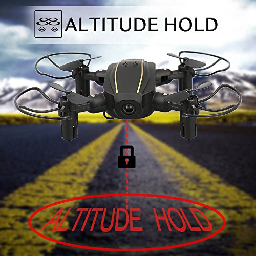 Dwi-Dowellin-Mini-Drone-Foldable-RC-Quadcopter-with-Altitude-Hold-3D-Flips-Rolls-Remote-Control-One-Key-Take-Off-Landing-Emergency-Stop-Headless-Mode-Micro-Drones-Comes-with-2pcs-Batteries-Black