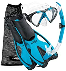 The Phantom Aquatics Speed Sport Mask Fin Snorkel Set is great for any skill level snorkeling and swim enthusiast. Included is the unique Speed Sport Fins, featuring the adjustable straps for comfortable secure fit allowing you to maximize po...